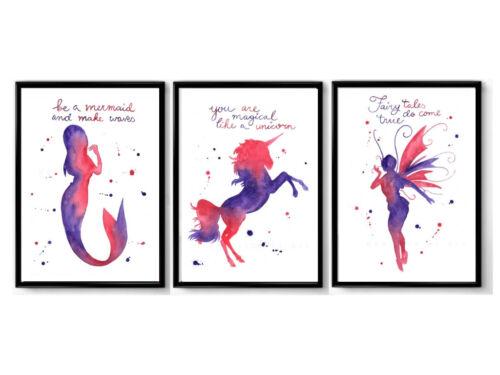Set of 3 fairy, mermaid, unicorn prints  - nursery prints, quote prints
