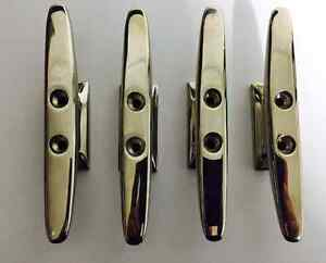 Boat Cleats x4 Narrow Base  316 Polished Stainless steel 150mm Heavy Duty Base
