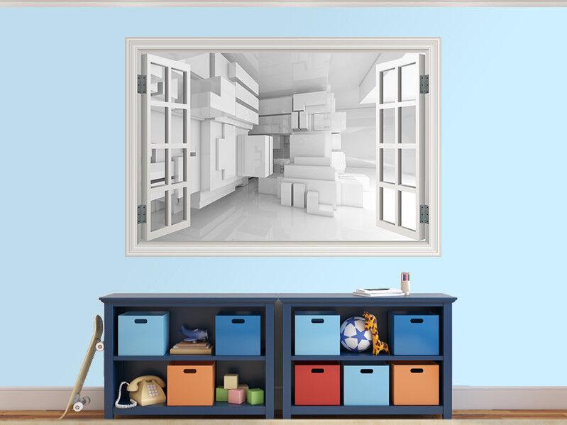 Abstrakt Leere Weiß Zimmer 3D Foto Fenster Wandaufkleber Wandbild (45534721ww)