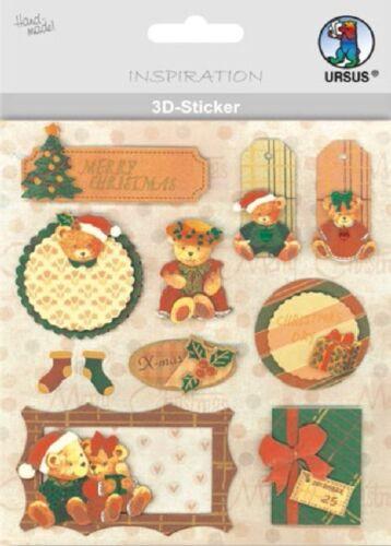 URSUS 3D-Sticker Inspiration Weihnachten Bärchen
