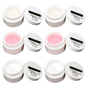 6x-UV-Gel-Aufbau-Gele-Set-Nailart-f-French-Nagel-15ml-klar-rosa-weiss-DE