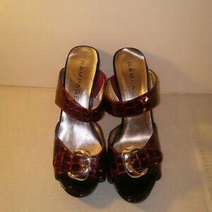 Rampage-Women-039-s-Slip-On-Burgundy-Textured-Heels-6-5