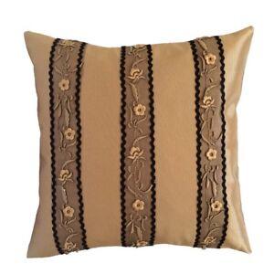 Satin-Embriodery-Lace-Applique-18x18-Beige-Decorative-Pillow-Case-Cushion-Cover