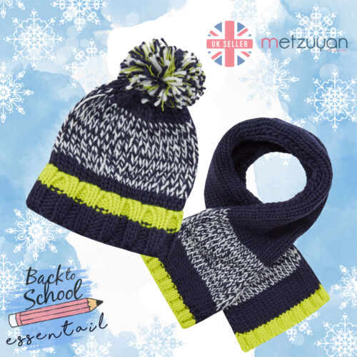 Boys Hat Scarf Set Chunky Warm Winter Back To School Knitted Navy Pom Pom 3-13 Y