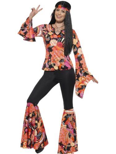 Ladies 60s 1960s 60/'s Willow Hippy Fancy Dress Costume XS to XXL by Smiffys New