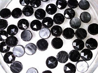 Vintage 25 Black Faceted Nail Head Glass Beads Old Stock 052109d