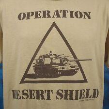 vintage 1990 OPERATION DESERT SHIELD US ARMY TANK T-Shirt MEDIUM/LARGE thin 80s