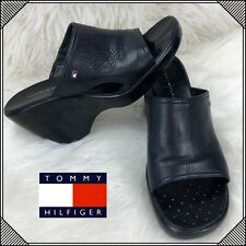 ce8549b15 item 2 TOMMY HILFIGER Leather Slip On Slides Sandals Womens Size 10 M Black  Shoes -TOMMY HILFIGER Leather Slip On Slides Sandals Womens Size 10 M Black  ...