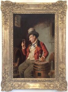 The-Wine-Drinker-Antique-Oil-Painting-by-Hermann-Kern-Austrian-1838-1912
