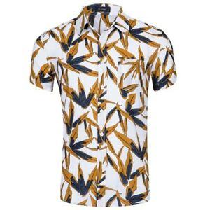 Summer-men-039-s-short-sleeve-top-beach-floral-printed-shirt-casual-shirt-new