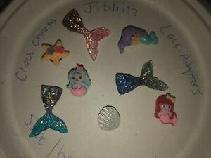 3D-Mermaid-amp-Tails-Lot-Of-8-Crocs-Shoe-Bracelet-Lace-Adapter-Charms-Jibbitz