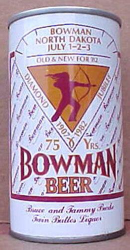 MINNESOTA 1982 North Dakota Grade 1//1+ BOWMAN BEER ss CAN with Indian