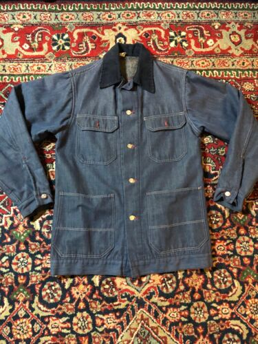 vintage 1970s Blanket Linded Demin Chore Coat Jack