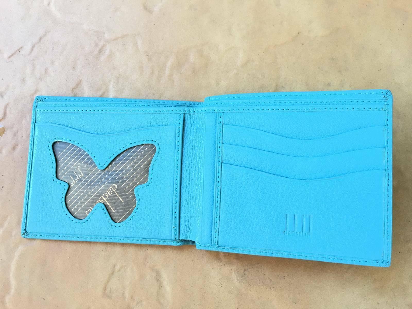 ITALY DESIGNER leather butterfly powder blue wallet School Work Uni Office Xmas