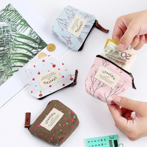 Small Fresh Pastoral Canvas wallet fashion rustic zipper wallet key makeup bag
