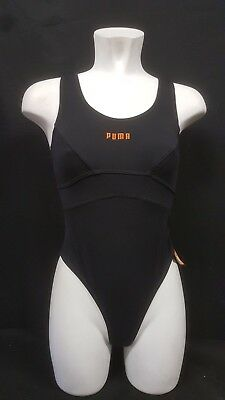 Puma Thong Leotard Fitness Dance Black Vintage 90s Stock