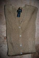 NWT $119 Gold Metallic RALPH LAUREN LS V-Neck Sweater Medium