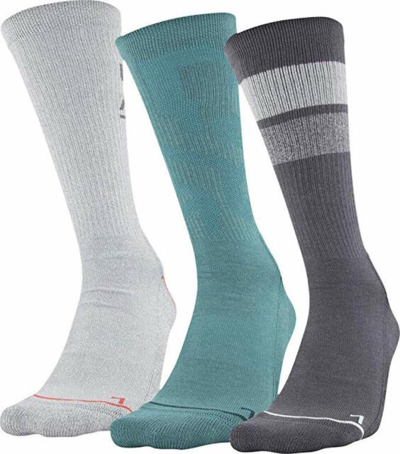 UNDER ARMOUR UA 3 Pack Performance Blue Green Grey Crew Socks Mens Large 9-12.5