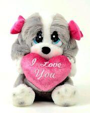 "Aurora Sad Sam I Love You Puppy Dog Plush w Heart 7"" Small soft stuffed animal"