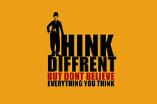 """Framed Print - Charlie Chaplin Quote """"Think Diffrent"""" (Picture Different Art)"""