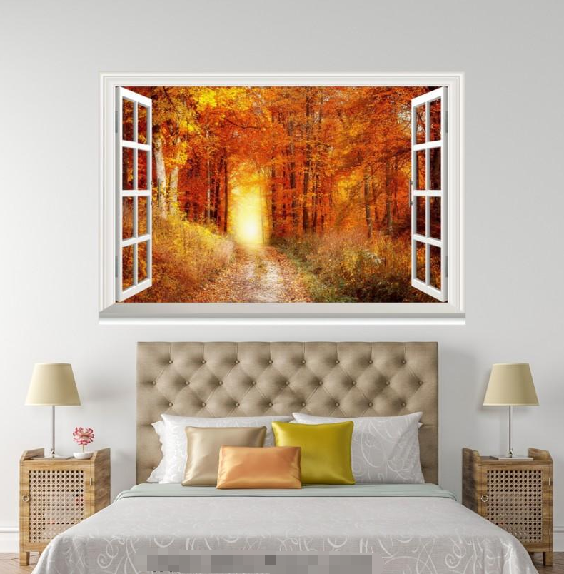 3D Autumn Tree 73 Open Windows WallPaper Murals Wall Print Decal Deco AJ WALL