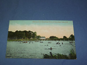 VINTAGE 1909 BATHING SACANDAGA RIVER SACANDAGA PARK   NEW YORK   POSTCARD