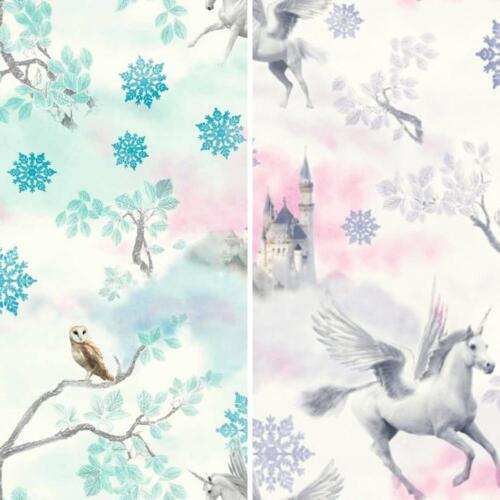 Fairytale Snowflake Pattern Princess Childrens Glitter Wallpaper 2 Colours