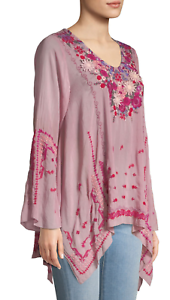 NWT-Embroidered-JOHNNY-WAS-Blouse-WISH-STITCH-V-Neck-Tunic-Cupra-XS-278