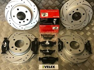 BMW-316-318-320-E46-E36-I-FRONT-amp-REAR-DRILLED-amp-GROOVED-DISCS-BREMBO-PADS-99-05