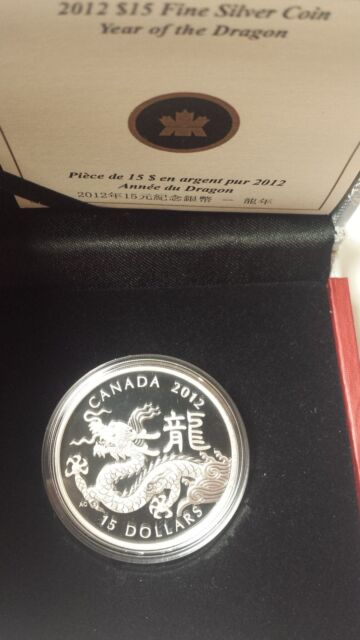 Canada 2012 $15 Lunar Round Year of Dragon Proof SILVER COIN With COA Box Sleeve