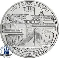 Deutschland 10 Euro Silber 2002 bfr. 100 Jahre U-Bahn in Deutschland in Kapsel