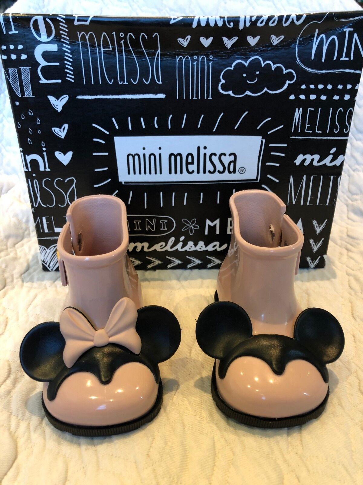 9 Regular US Toddler Blue//Black Mini Melissa Girls Mini Sugar Disney Twins Rain Boot