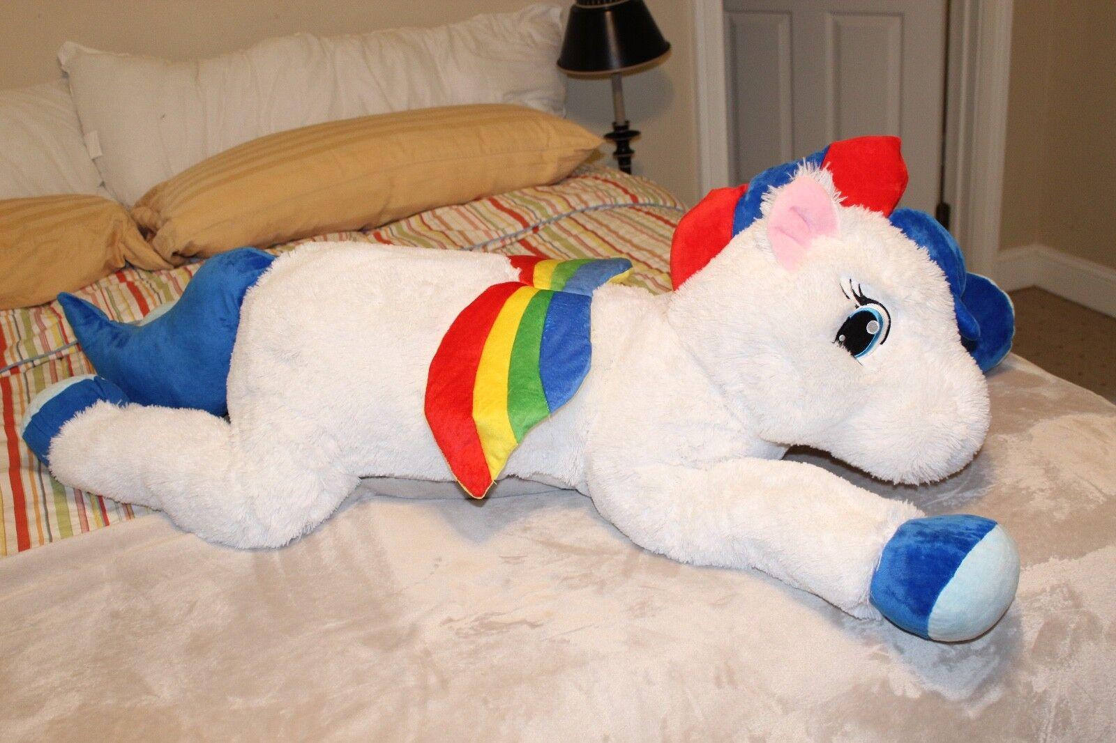New Jumbo Rainbow Pegasus White Plush Stuffed Animal 44