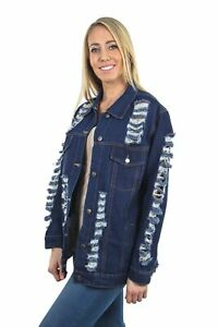 Women-039-s-Juniors-Relaxed-Loose-Ripped-Denim-Jackets-Long-Sleeve-Jean-Coats