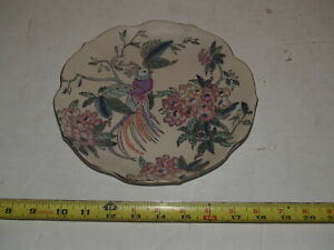 Vintage-Toyo-China-Decorative-Plate-Exotic-Bird-and-Flowers-8-1-2-034