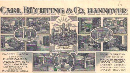 Carl Büchting & Co Hannover Rechnung 1914 Marienburg Niedersachsen Pattensen
