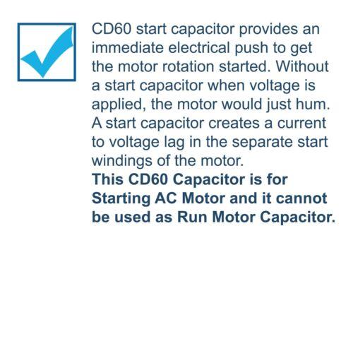 200uF 125V Capacitor AC Electric Motor Start HVAC Blower Compressor Pump CD60