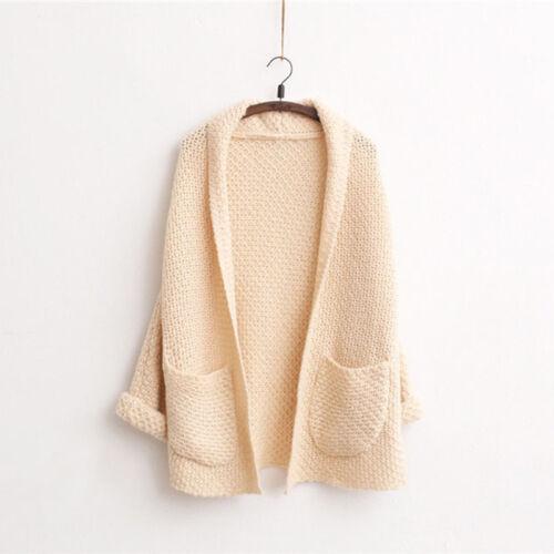 Winter Women Long Sleeve Loose Knitted Sweater Jumper Cardigan Outwear Coat 50