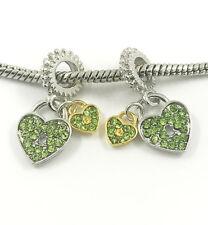 Fashion 2pcs Lock Gold European Charm Crystal Spacer Beads Fit Necklace Bracelet