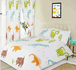 Image Is Loading Kids Fun Dinosaurs T Rex Brachinosa Colourful Duvet