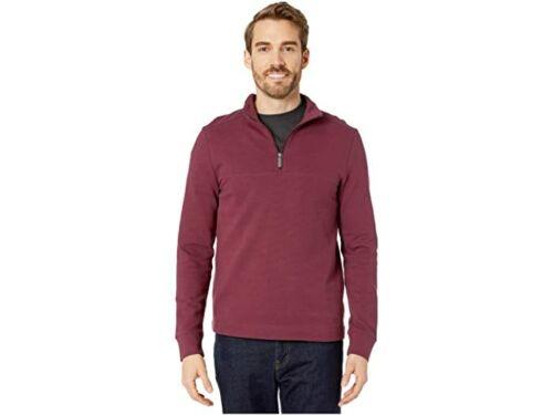 Perry Ellis Ottoman Rib Knit 1//4 Zip Long Sleeve Shirt  burgundy  ing7 medium