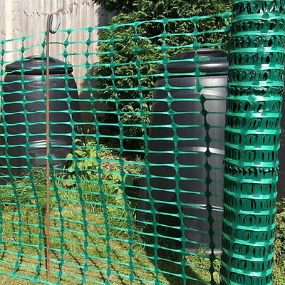Green Plastic Barrier Mesh Fencing - 1m x 50m . Events, Garden, Projects.