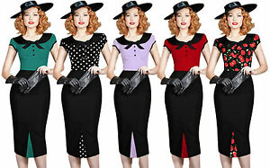 New-Rockabilly-Retro-Vintage-Style-40-039-s-50-039-s-Pin-Up-Wiggle-Pencil-Bow-Tea-Dress