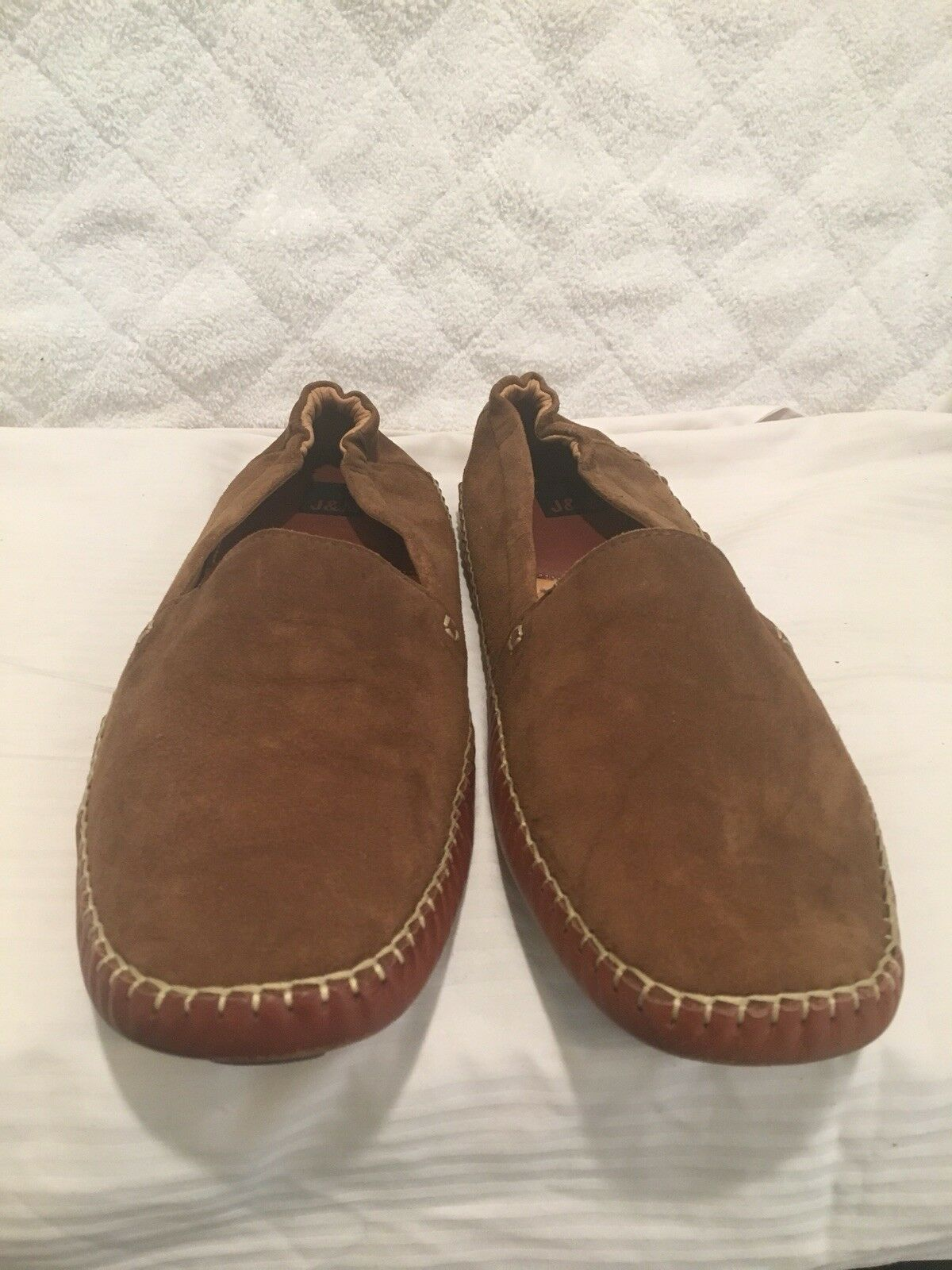 J.M MENS SUEDE LAFER SLIP ON LIGHT BROWEN COMFY SHOES AROUND CITY LIGHT SZ 11
