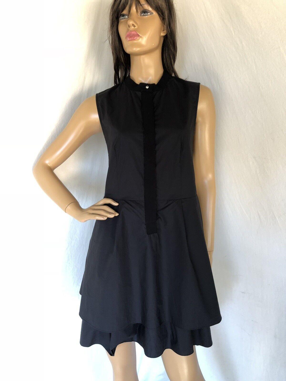 10 Crosby Derek Lam Fit n Flare Dress Größe 8 schwarz Sleeveless Cotton
