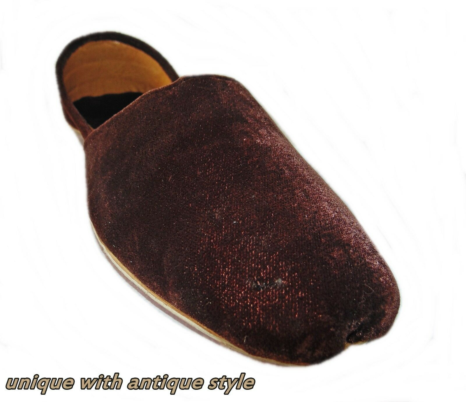 BROWN MEN HANDMADE   FLAT VALVET JOTI LEATHER KHUSSA SHOE