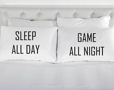 Sleep All Day Game All Night White Pillow Cases Teenager Gaming Gift Pillowcases