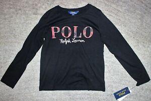 Polo-Ralph-Lauren-Girls-Black-Long-Sleeve-T-Shirt-Size-M-8-10-NWT