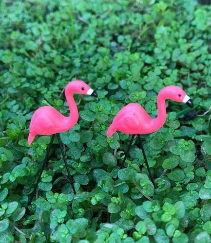Miniature Dollhouse FAIRY GARDEN Accessories ~ TINY Pink Flamingo Lawn Picks