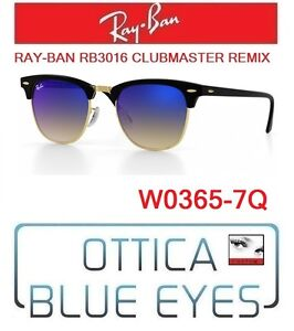 Occhiali-da-SOLE-RAYBAN-RB3016-CLUBMASTER-REMIX-7Q-Sunglasses-Ray-Ban-Black-Blue